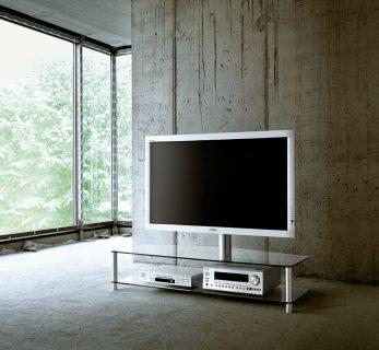Das Modell PL 152 von Spectral ist ein TV Hifi Rack und verfügt über 2 Glasebenen, einer TV Drehhalterung, das Ganze ruht auf eleganten Aluminiumsäulen.