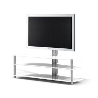 Das Modell PL 182 von Spectral ist ein TV Hifi Rack, mit den Maßen 140x93x54 (BxHxT), 3 Einlegeböden aus Glas und einer TV Drehhalterung. Das Ganze ruht auf Aluminiumsäulen.