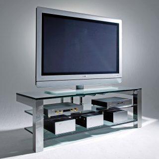 Das Modell Focus 150 von Schroers&Schroers ist ein TV Hifi Möbel mit einem hochglanzpolierten Edelstahlrahmen und 3 Fachböden aus 20 mm starkem Glas. Optional kann auch schwingungsarmes Soundglas gewählt werden.