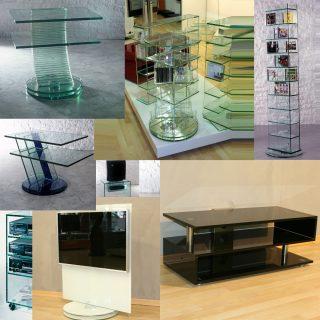 Hifi-TV-Möbel aus Glas von der Firma Glass Concept.