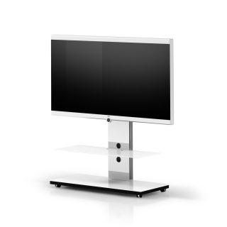 Der TV-Ständer Tray PX 701 ist rollbar, hat eine Glasverkleidung und ist für große Fernseher geeignet.