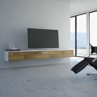 Das Modell aus der Serie S-Linie LB2, ist ein Wandhängendes Lowboard mit jeweils links und rechts einer Schublade und einer Klappe in der Mitte.