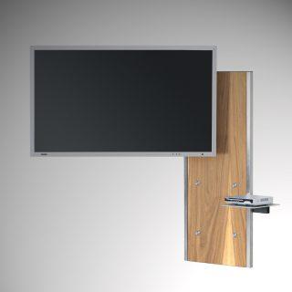 Das Modell Plate Art 117 von Wissmann Raumobjekte, ist ein TV Halter zur Wandmontage. Mit Schwenkarmfunktion, die Verkabelung findet hinter dem Panel statt.