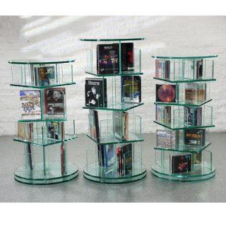 Das Modell CD Archiv von Glass Concept in ein drehbares Ganzglasmöbel für CD und DVD. Dieses CD und DVD Rundregal kann auch nach ihren Wunschmaßen gefertigt werden.