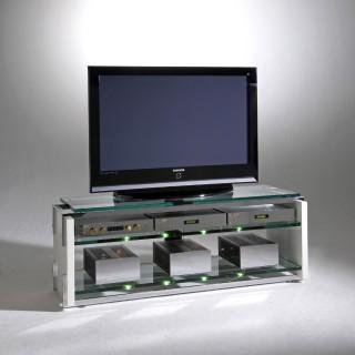 Ein Fernseh Audio Möbel wo Glas, Holz und Stahl aufeinander treffen. Modell Charisma von Schroers&Schroers.
