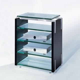 Audio TV Möbel von Schroers&Schroers. Hifiregal aus Holz mit fünf Glasböden.