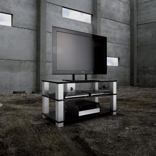 Hifi TV Möbel-Ablageböden aus Glas-Tragesäulen aus Aluminium-Mit Kabelkanal.