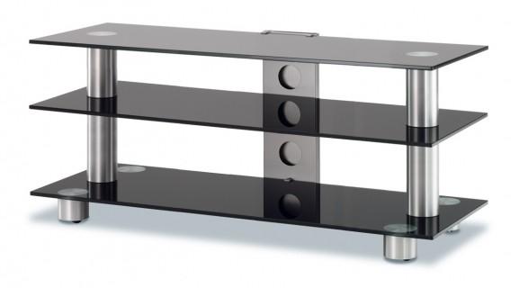 Ein Retromodell, Sreen von Spectral. Ein TV Tisch aus Aluminium 3 Glasböden und Kabelkanal.