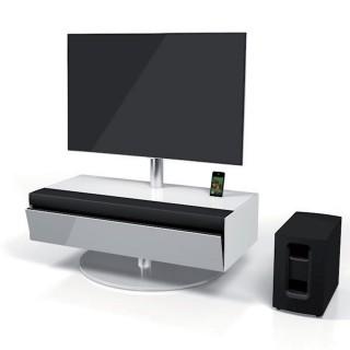 Geschlossenes Soundbarmöbel mit stoffbespannter Klappe und TV Drehhalter von Spectral.
