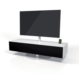 Soundbarmöbel mit stoffbespannter Klappe, TV Drehhalter und Ladefunktion für Apple Geräte.