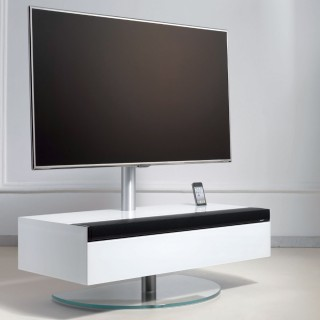 Soundbarmöbel mit Klappe und TV Drehhalter von Spectral.