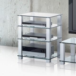 Ein elegantes Hifi Rack, Rahmen aus Aluminium und Glasböden.