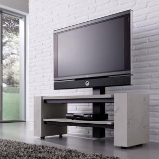 Offenes rollbares TV Hifi Möbel mit Fernsehsäule in Betonoptik