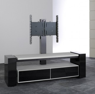 Fernsehmöbel halboffen mit zwei Klappen oder Schubladen rollbar mit TV Säule