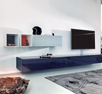 Spectral Scala ein TV Hifi Möbel auch zur Wandmontage geeignet mit den entsprchenden Hängschränken kombinierbar.