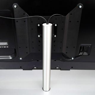 Ein Fernsehhalter von Spectral verplüfft durch die Kabelführung im Inneren.
