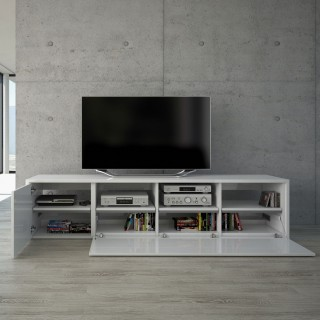 Dieses Fernsehmöbel findet viel Platz für ihre Audiogeräte