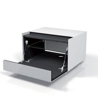 Lowboard der Extraklasse mit Klappe für Audiogeräte mit Kabalöffnung und Oberflächenverglasung von Spectral