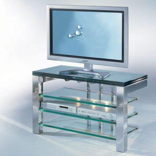 Ein TV Hifi Möbel aus Edelstahl hochglanzpoliert mit Glas Fachböden.