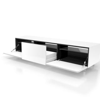 Das Modell JRL 1650 ist ein Hifi TV Möbel von Just Racks, mit zwei Klappen einer Schublade und Verglasung.