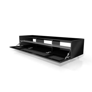 Ein Hifi TV Möbel von Just Racks mit stoffbespannter Klappe und geeignet zur Soundbarintegration.
