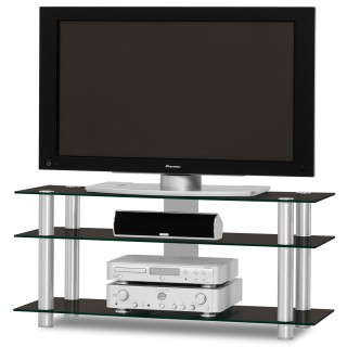 TV und Audio Regal aus Aluminium mit Glasböden und Kabelkanal