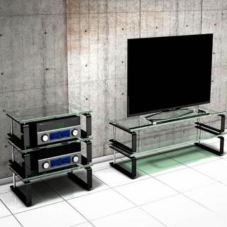 Hifi TV Regal mit Glasböden (Soundgals) und vibrationsgedämpft.