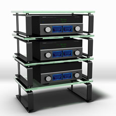 Hifi Regal aus Stahl mit Einlegeböden mit Soundglastechnik.