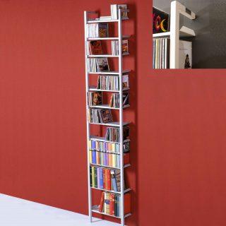 Ein Regal zur CD DVD Archivierung aus Stahl zur Wandmontage.