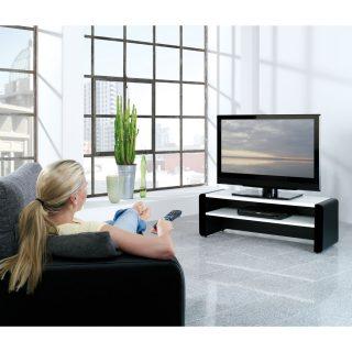Das Modell Elf 120 ist ein TV Regal mit Einlegeboden für Audiogeräte.