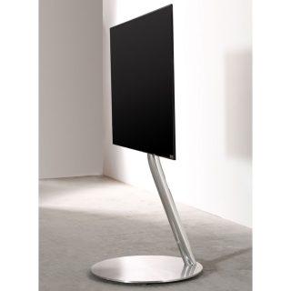 Der Ecoline Art 900 Cirle ist ein rollbarer TV Halter. Verchromte Säule und Aluminiumsockel.