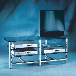 Das Modell Stoneless 126/70 von Liko Design ist ein Hifi TV Rack mit geschliffenen Aluminiumsäulen mit Rasterfunktion für die individuellen Abstände der Glasfachböden.