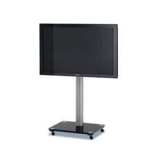 Das Modell QX 1000 ist ein rollbarer TV Ständer mit einem Glassockel, darauf ruht eine Aluminiumsäule mit einer TV Halterung.