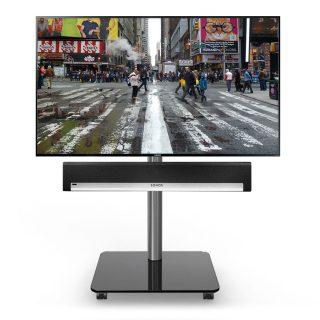 Das Modell QX 600 SP ist ein rollbarer TV Ständer mit einem Adapter für eine Soundbar, optional auch mit 2 Ablageböden wählbar.