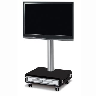 Das Modell QX 208 ist ein rollbarer TV Ständer mit einem Gerätefach als Sockel, darauf ruht eine Aluminiumsäule mit einer TV Halterung.
