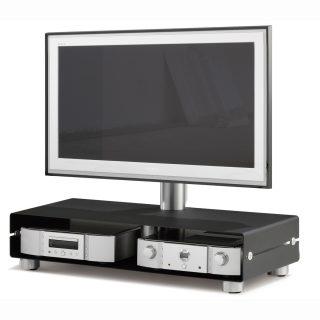 Das Modell QX 111 ist ein TV Ständer mit einem Gerätefach wo zwei Geräte nebeneinander Platz finden. An einer Aluminiumsäule ist eine TV Halterung wo ihr Fernseher seinen Platz findet.