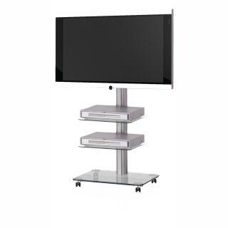 Das Modell QX 1010 ist ein rollbarer TV Ständer mit 3 Ablagefächer.