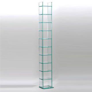 Ein CD DVD Möbel/Turm aus Glas 24x176x20 cm (BxHxT). Modell CD 10-G von Schroers&Schroers.