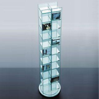 Ein CD DVD Möbel/Turm 40x160 cm (BxH). Dieses Glasregal ist drehbar und fast 300 CDs.
