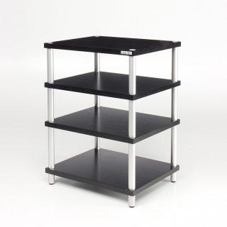 Ein Hifi Rack, 60x77x48 cm (BxHxT) (bei 4 Ebenen). Säulen aus Aluminium. Böden sind melaminbeschichtet und sind in verschiedener Optik wählbar.