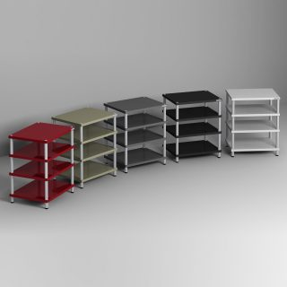 Ein Hifi Rack, 60x77x48 cm (BxHxT) (bei 4 Ebenen), Böden sind melaminbeschichtet, Säulen aus Aluminium und in verschiedenen optischen Ausführungen erhältlich.