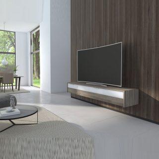Das LB Sound von Schnepel ist Hi Fi TV Möbel. Mit einer Stoffbespannten Klappe. Auch zur Wandmontage geeignet.