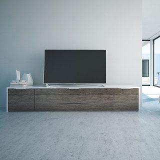 Einb TV-Möbel mit der Oberflächenstruktur Pasadena. Modell MK2 von Schnepel.