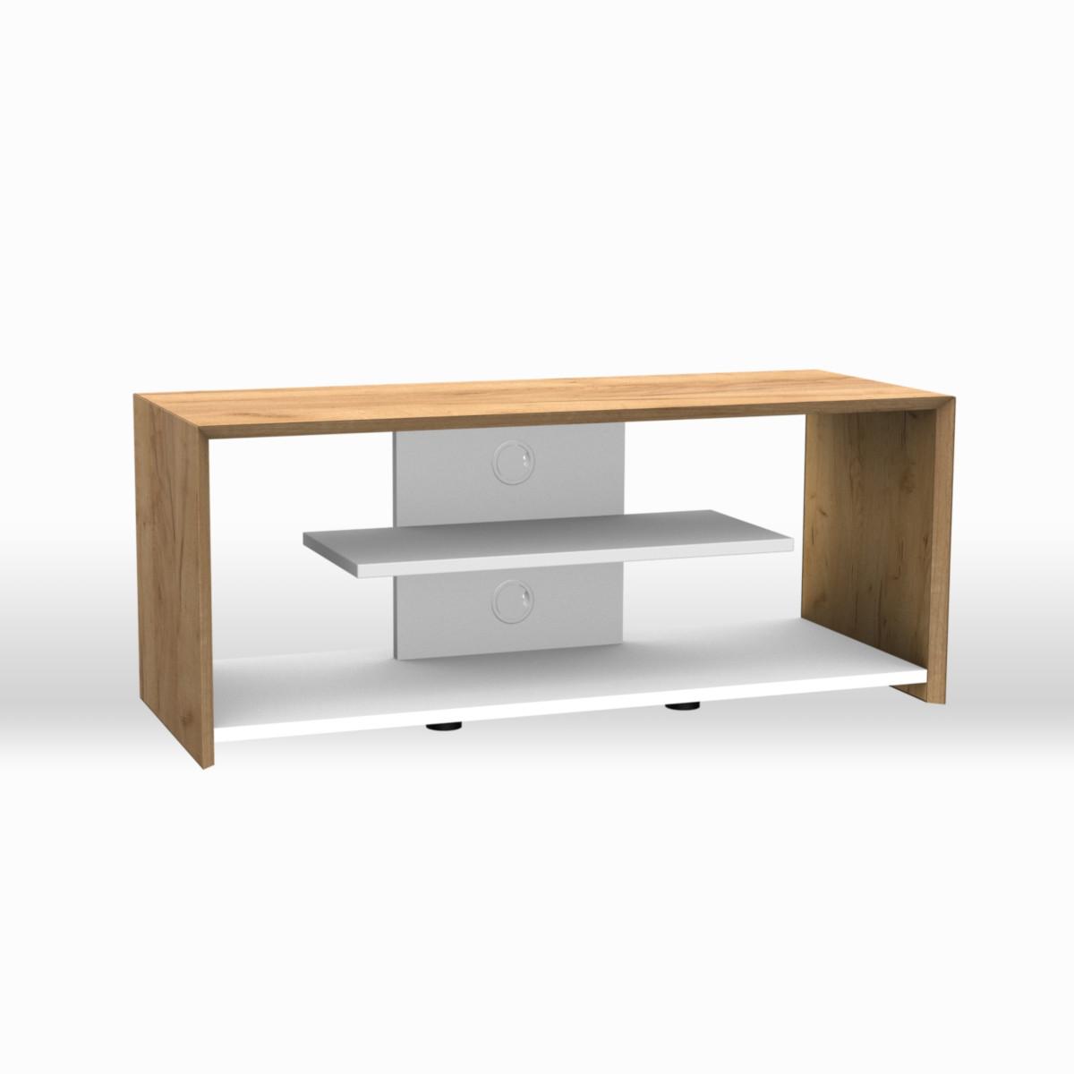 Ein offenes TV-Möbel von Schnepel Alpha. Kabelverlengerung im Holraum hinter der Rückwnd möglich. Korpus Honig-Eiche, Rückwand Weiß.