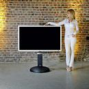 Wissmann Omega Art 111 TV Halter Standfuß unsichtbare Rollen DVD Halter Soundbar für TV's bis 85 Zoll