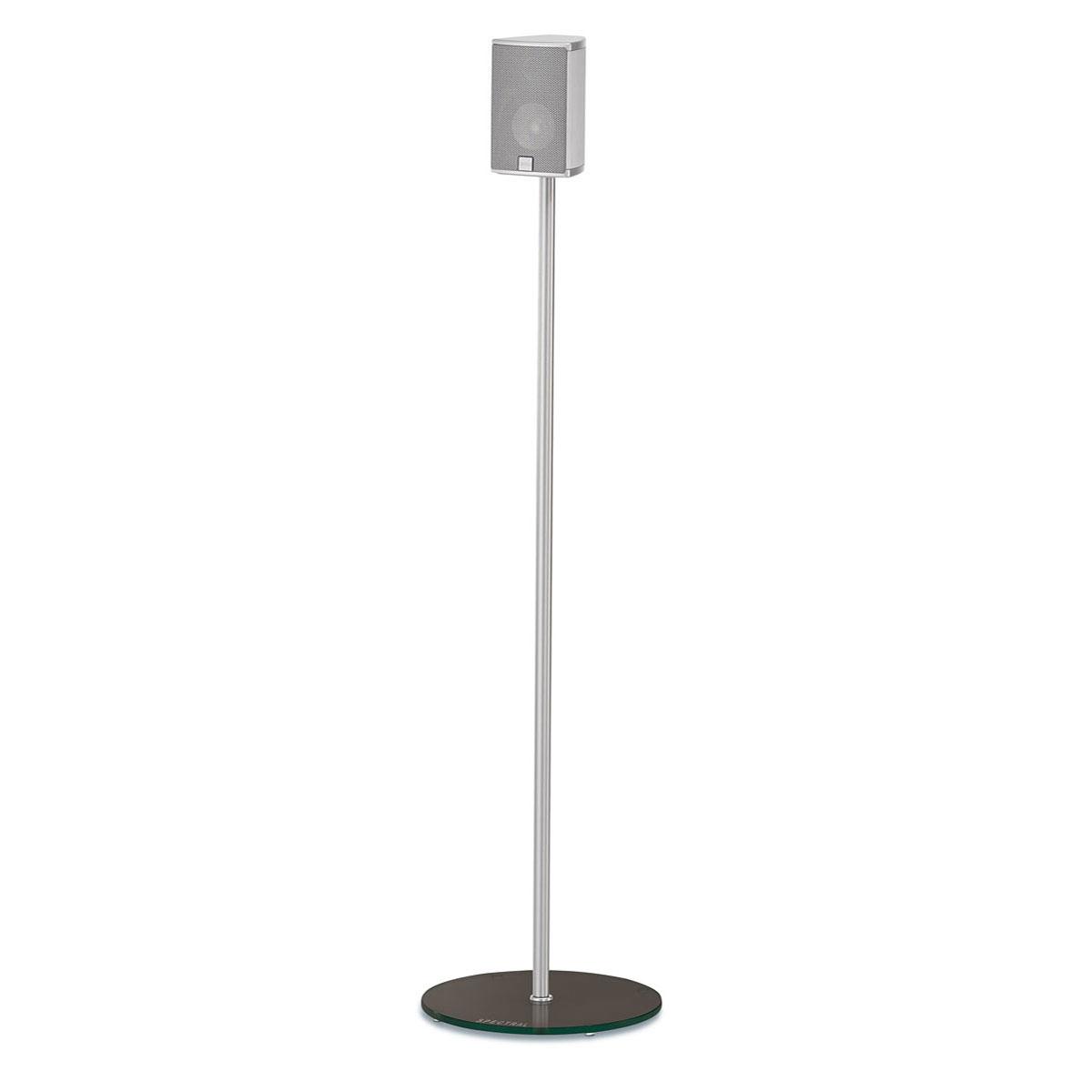Befüllbarer Lautsprecherständer. Mit unsichtbarer Kabelführung mit einem Standfuß aus Glas von der Firma Spectral.