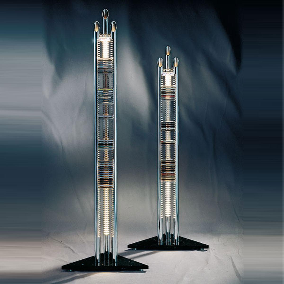 CD Ständer aus Aluminium, beleuchtet mit Marmorsockel. Verschiedene Höhen. Für 76-97 Cds. Mit Beleuchtung. Edles Design. Modell Tristar von Liko Design.