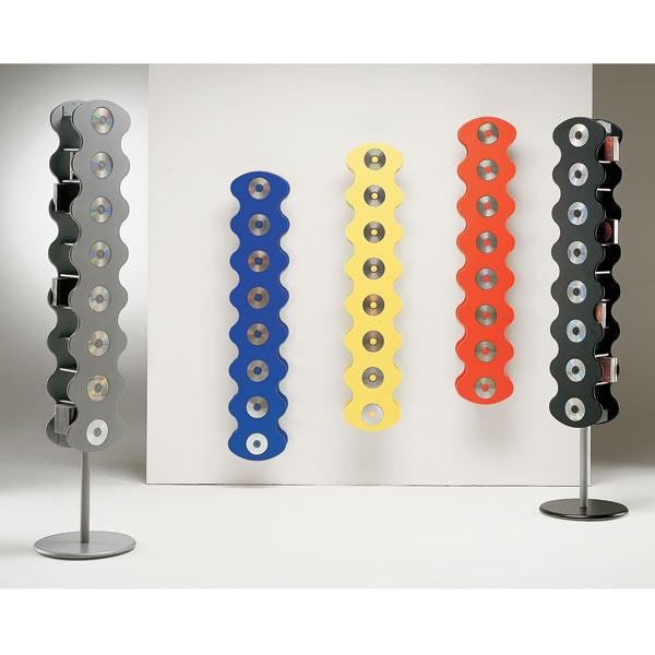 CD Wandregal-Ständer-Rack 18x205 cm (BxH). Optional auch bodenstehend. Popiges Design. Verschiedene Farben. Modell Disko von Vismara.