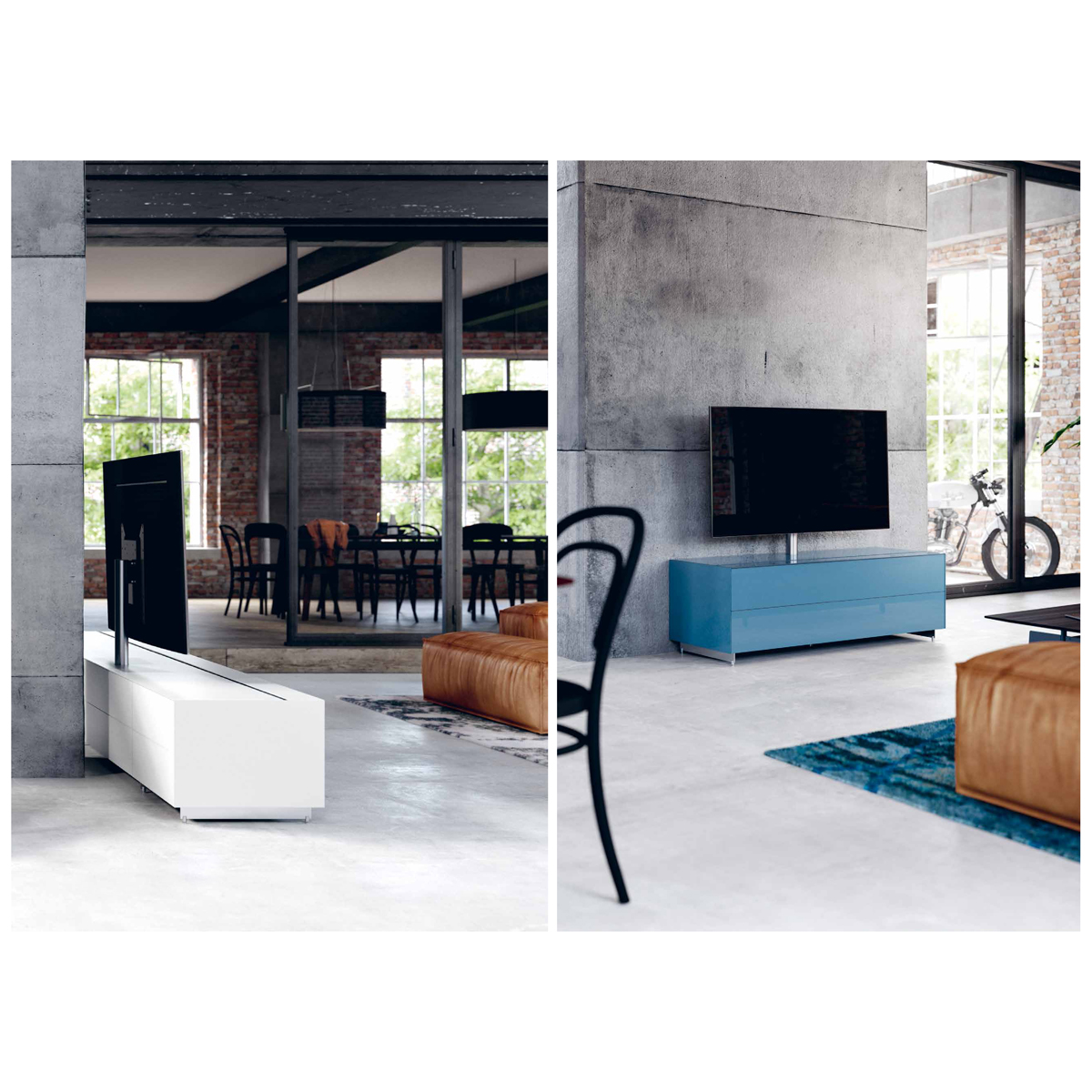 Ein Hifi TV Möbel als Raumteiler. Sichtbare Flächen verglast. Modell Cocoon von Spectral.