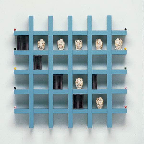 CD/DVD Rack-Wandregal 98x98x13 cm (BxHxT). Für 350 CDs. Design-geschachtet. Modell Box by Box 98 von Vismara.
